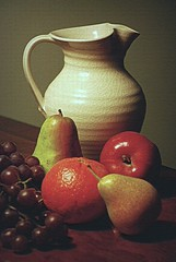 Pitcher and Fruit (floralgal) Tags: stilllife texture fruits photoshop pears decorative meals grapes apples snacks oranges pitchers soe oldworld healthysnacks blueribbonwinner mywinners platinumphoto platinumphotos perfectphotographer pitcherandfruit creativetabletopdisplay dianaleeangstadtphotography