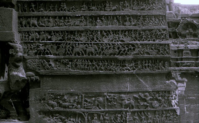 Epic tale on Pillar, Ellora Caves, India, October 2001