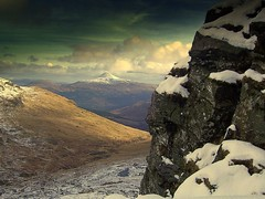 Touching the snow (Nicolas Valentin) Tags: mountain snow scotland scenery hillwalking benarthur thecobbler mywinners