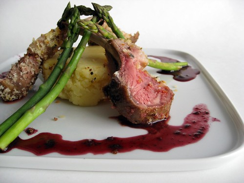 Herb Crusted Rack of Lamb with Red Wine Reduction
