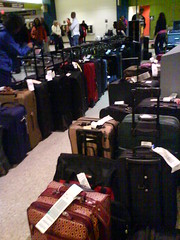 luggage lined up at the airport