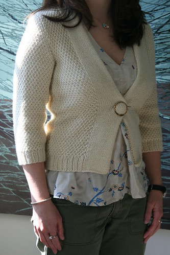 minimalist cardigan with shawl pin