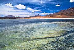 Foreshore and Background (tripowski) Tags: travel blue sky orange lake green southamerica clouds landscape nikon bolivia tamron d80 fotogezgin