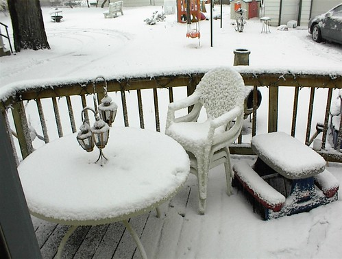 Let me wipe some of the dust off that chair for you before you sit down. Also, the inch of snow.