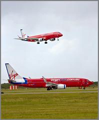 Virgin on Virgin-1+ (Sheba_Also) Tags: dj aircraft brisbane boeing voz spotting embraer b737 virginblue b738 e190 vhvod ejet vhzpa