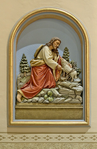 Saint Anthony of Padua Roman Catholic Church, in Saint Louis, Missouri, USA - bas-relief of Jesus and lamb