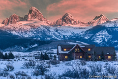 A Room With a View (Cramer Imaging) Tags: outdoor outdoors photo photography nature natural mountain tetonmountains grand teton grandteton mountains landscape scenic rural cabin home house sky cloud clouds pink blue sunset idaho wyoming driggs
