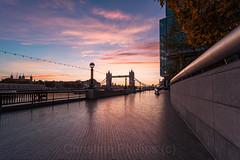 Sunrise over Tower Bridge on an Autumn Morning (Christine's Phillips (Christine's observations)) Tags: towerbridge autumn fall thefall sunrise sunset magicalmoments london uk england travel explore wishiwerethere happiness christinephillips christinesobservations bridge architecture art city photography urban people color photographer looking up vertical street building blue colors colours colour europe beautiful cityscape structure ultra wide angle contemporary arts architectural residential design abstract buildings shad thames central londyn londres londra capital britain great outdoor