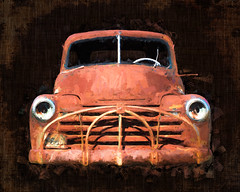 Rust Bomb '53 Chevy Pickup (lornahamblin) Tags: chevy pickuptruck pickup truck farm rust vintage abandoned topazimpression photoshop 1953 itwasagoodyear blumtx textured flypaper