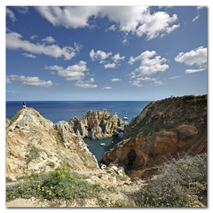 The Tourist Grotto -  Ponta da Piedade, Portugal (s0ulsurfing) Tags: blue light shadow sea sky cloud sunlight holiday seascape color colour tourism beach portugal water weather rock clouds contrast square landscape bay coast rocks paradise skies shadows wind cove gulls wide steps shoreline fluffy wideangle tourist stack coastal shore cumulus april vista grotto coastline algarve humilis puffy 2009 squared nube cliche bold foreground stacks meteorology nephology 10mm sigma1020 s0ulsurfing pontadapiedade westernalgarve cumulushumilis aplusphoto vertorama