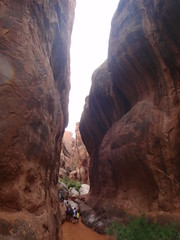 Narrow terrain on the Fiery Furnace hike
