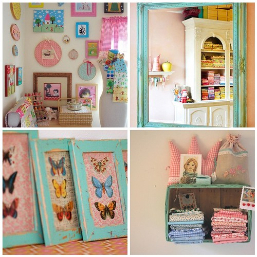Turquoise highlighted craft room