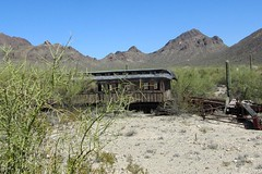 derelict railroad car (BarryFackler) Tags: railroad vacation arizona cactus mountains dusty train desert dry western movies movieset wildwest arid frontier southwestern oldwest railroadcar americansouthwest oldtucson passengercar 2011 oldtucsonstudios moviestudios pimacounty barryfackler barronfackler