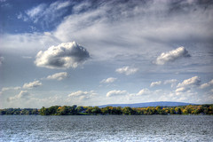 Merrimac Ferry (jw_creations) Tags: blue sky lake water ferry wisconsin clouds waves bouy merrimac lakewisconsin crispair