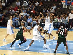 The Nuggets and Bucks face-off for one of the last preseason games of the 07-08 season