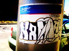 Nama (See El Photo) Tags: auto street streetart art car lomo sticker stickerart automobile mail legs transport pole nama prioritymail motorcar usmail unitedstatespostalservice mailsticker lomofun