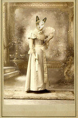 Debutante (AzRedHeadedBrat) Tags: family portrait pet animal sepia cat photoshop vintage feline snowy antique victorian kitty surreal fictional debutante sharleneshappart vintagefiction