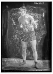 Fred Welsh  (LOC) (The Library of Congress) Tags: shirtless boxer libraryofcongress waterdamage boxing 1910s beltbuckle shortshorts xmlns:dc=httppurlorgdcelements11 dc:identifier=httphdllocgovlocpnpggbain10134 fredwelsh