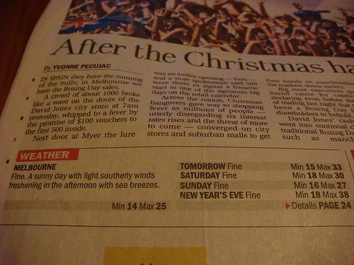 NYE weather forecast: 38C. I turned out to be 42C!