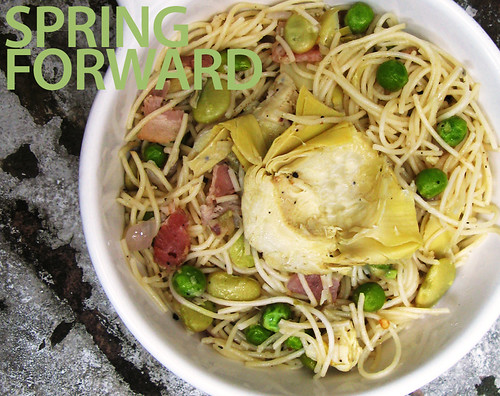Capellini with Artichokes, Lima Beans, Peas, and Bacon (with title)