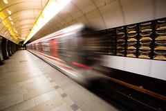 Where are Jrmie and Martina? (ole) Tags: motion blur station speed train underground subway europe republic czech prague metro background mtro prag wideangle praha czechrepublic tchequie rpubliquetcheque