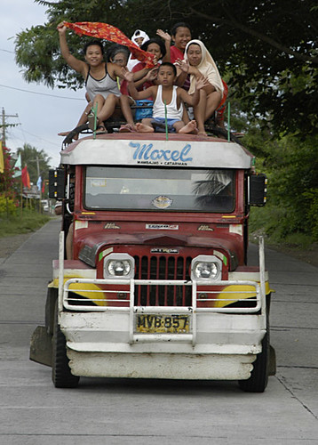 jeep transport commuting front view rural philippines pinoy