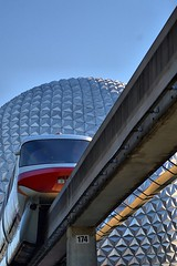 Disney - Monorail Red Spaceship Earth (Express Monorail) Tags: orlando epcot florida disney disneyworld monorail wdw waltdisneyworld walt spaceshipearth futureworld monorailred disneyphotochallenge disneyphotochallengewinner
