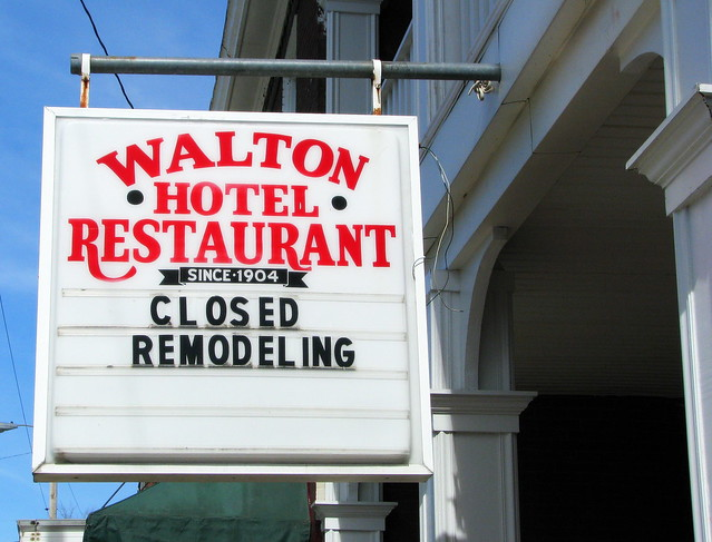 Sign for the Walton Hotel