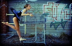 petit cart (rod lewis) Tags: urban ballet pose graffiti ballerina shoppingcart sonic molly hedgehog pointe cart tutu pointeshoes toeshoes enpointe mywinners
