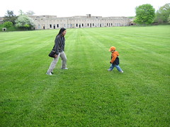Chasing Aunty Michelle on the parade grounds