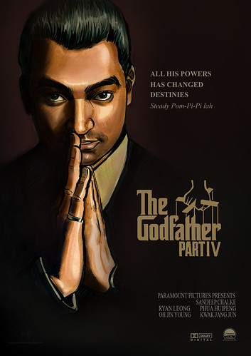 Portrait illustration The GodFather IV poster edited with text (flattened)