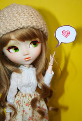 Say How You Feel (Antique Wolf) Tags: paja obitsu yellow 2005 partial custom knit blouse skirt heart love cute toy toys type 3 2 actually if recal doll dolls week adaw 2017 green eyes sweet lolita blythe