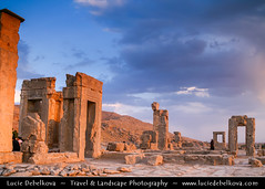 Iran - Magic Late Afternoon Light at Persepolis (© Lucie Debelkova / www.luciedebelkova.com) Tags: world road city travel light panorama color colour heritage history tourism archaeology horizontal architecture landscape asian outdoors persian site ancient ruins colorful asia view iran shira exploring great pillar central ruin scenic middleeast silk culture persia historic unesco east historical shiraz column iranian colourful oriental middle exploration eastern archaeological landschaft archeology province persepolis palac cultural rui archeological antiquity perse vestige darius lio jamshid bul fars apadana magiclight takht mytholog luciedebelkova mythologica wwwluciedebelkovacom