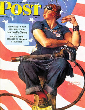 The famous Saturday Evening Post magazine cover with Norman Rockwell's depiction of Rosie the Riveter debuted May 29, 1943.