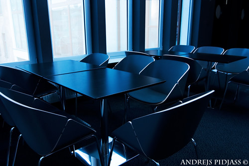 Modern conference room toned in blue