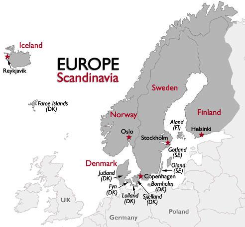 Mapa de los países nórdicos