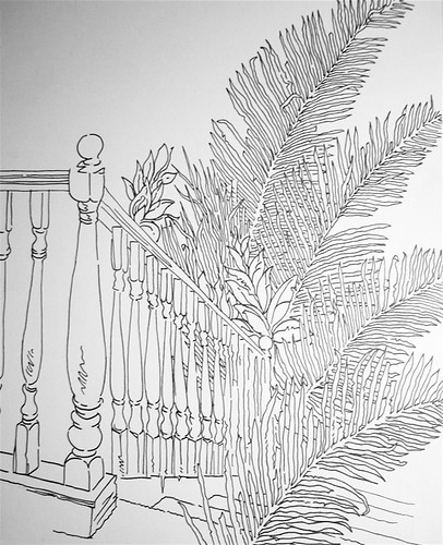 fronds on the bannister