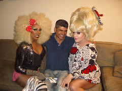 RuPaul (left) and Lady Bunny (right) meet with a fan