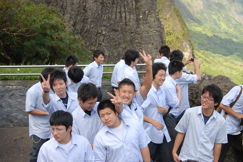 Japanese Tour Group at the Pali Lookout