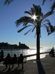Winter in Lerici (luber66) Tags: italien winter sea italy castle backlight bench meer italia mare liguria palm panasonic porto hafen schloss inverno palma castello controluce italians gegenlicht panchina lerici fz7 luber66