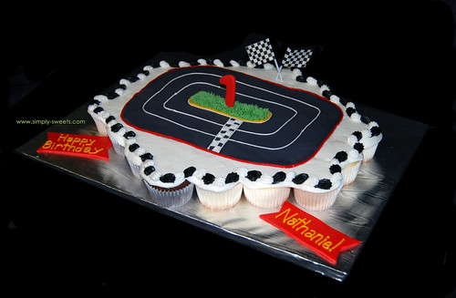 race car 1st birthday cupcake cake