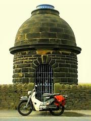 Krumlin Overflow (Lawrence Peregrine-Trousers) Tags: red west tower water bike stone honda grey cub yorkshire reservoir motorbike calder dome motorcycle halifax moped 90 pennine touring overflow supercub c70 panniers c50 c90 ffffffffff cm90 krumlin