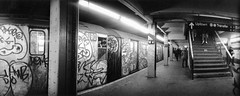 Subway (stacyrosenstock) Tags: panorama usa ny newyork subway graffiti publictransportation panoramic widelux conductor strain subwayart qualityoflife transitworker communtertrain