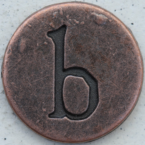 letter b. Copper Lowercase Letter b