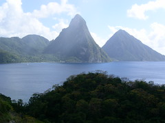 St Lucia - view of the Pitons from Anse Chastenet