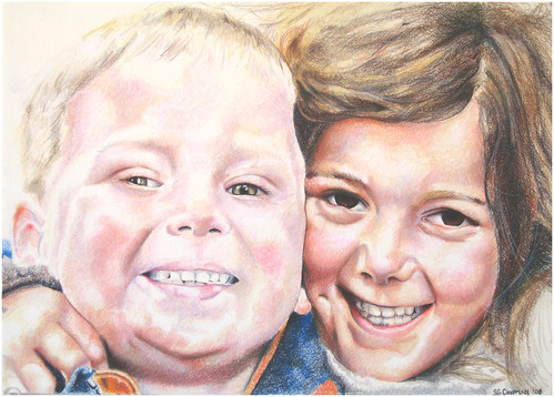 Colored pencil drawing entitled Nate & Hannah