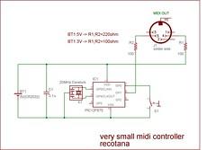 very small midi controller schematic (recotana) Tags: midi controller