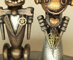 Robot Bride and Groom Wedding Cake Topper Wood Statues with Base 3 (Builders Studio) Tags: wood wedding fiction people sculpture man cute art classic statue cake metal trek toy person star bride robot couple punk comic technology veil geek mechanical tech top metallic space painted decoration machine wed artificial science retro steam nasa replica tuxedo formalwear ia figure divorce scifi pulp wars bouquet gown bridal figurine centerpiece gears tux marraige marry base broom android prop mecha droid topper geekery bot mech robo automaton steampunk robotic cyclon