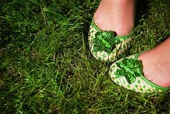 she's got green shoes (lesbru) Tags: summer green feet grass shoes crossprocess sparkle vignette d40x