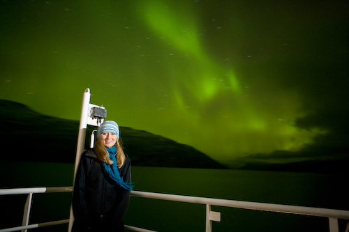 Hannah Bird and the northern lights as we sail down Kangerlussuaq Fjord